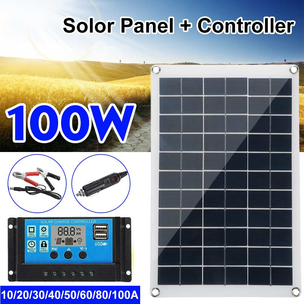 100w Solar Panel Kit Complete 12V USB With 10/20/30A Controller Solar Cells for Car Yacht RV Boat Mo