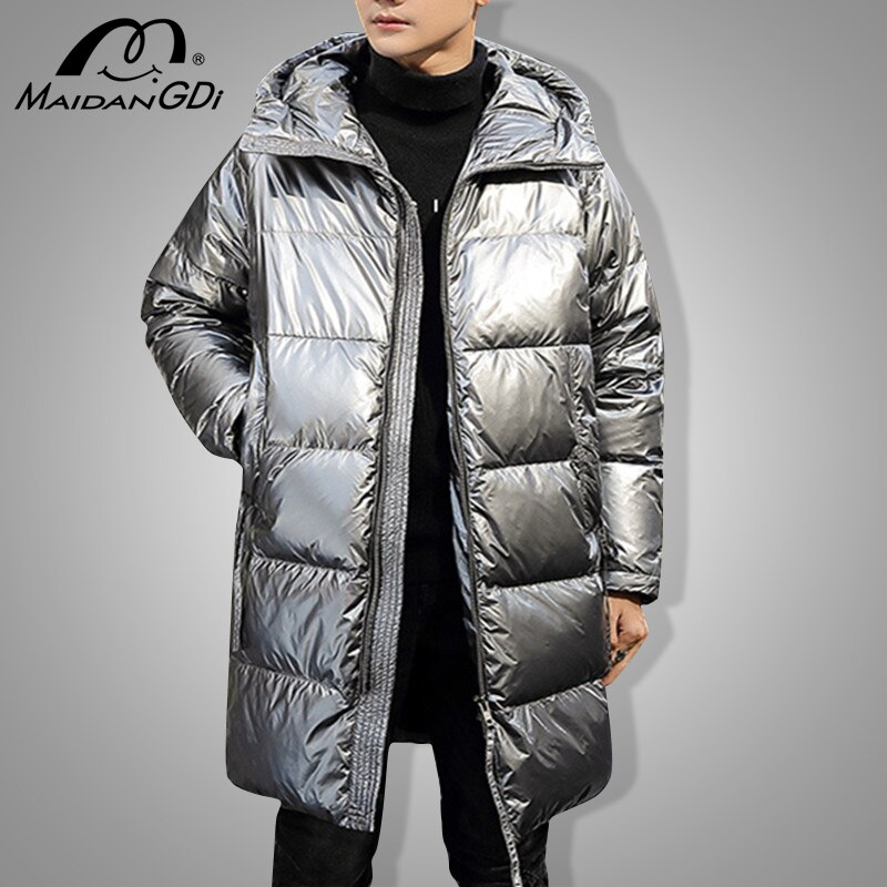 MAIDANGDI Winter New Down Jackets For Men 2021 Teenager Medium And Long Glossy Casual All-match Thickened Warm Windproof Clothes