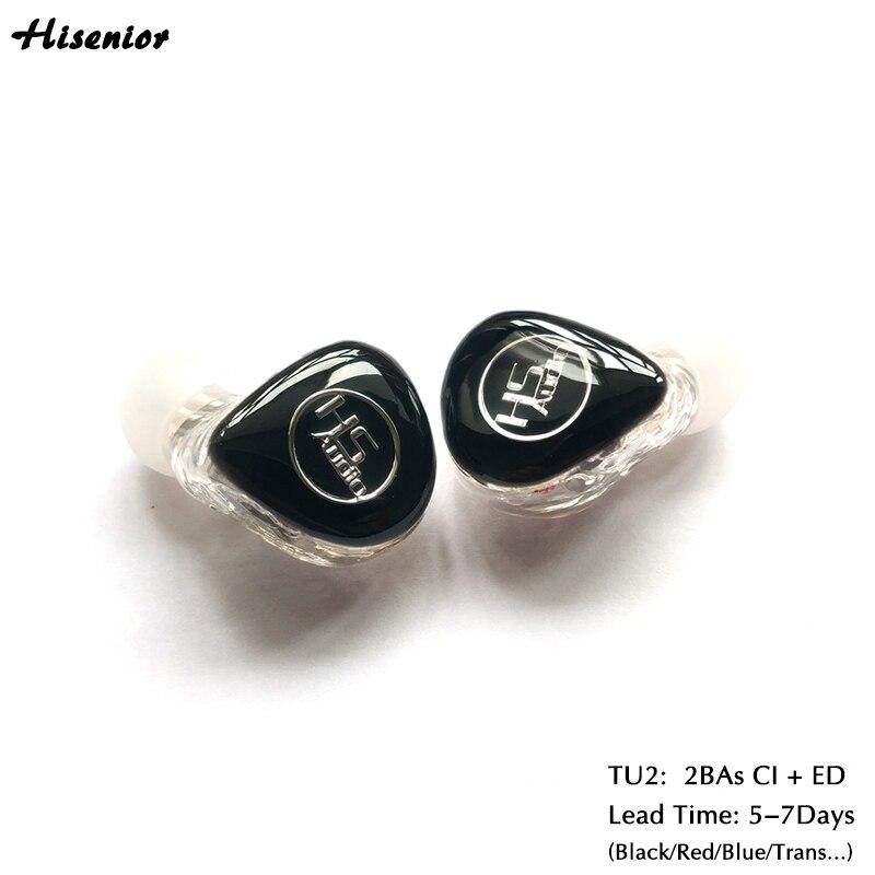 U2 Mini In-Ear-Monitor-Kopfhörer für Telefon MMCX anschluss mit Knowles 2BAs CI ED und 1,2 M Abnehmbare Kabel