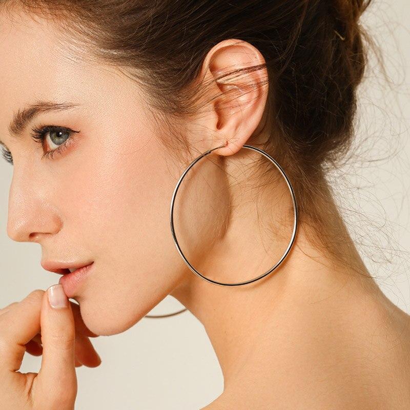 Женские круглые серьги-кольца, большие золотистые/Серебристые серьги-кольца, 40 мм/80 мм