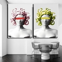 nordic style medusa sculpture classic portrait posters and prints canvas paintings pictures wall art for living room home decor