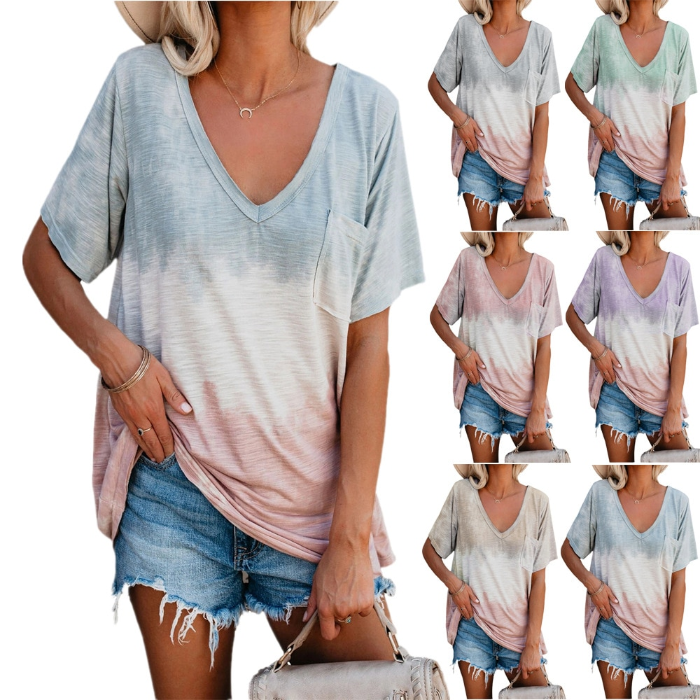 In the summer of 2021 the new women's wear loose comfortable printing v-neck t-shirts with short sleeves t v hache the invitation