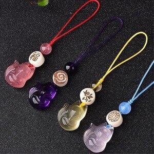 Original DIY mobile phone chain strawberry crystal citrine powder crystal nine-tailed fox phone lanyard key chain amethyst fox
