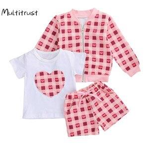 Fashion Baby Girls Clothes Sets 3pcs Heart Plaid Print Short Sleeve T Shirts+Long Sleeve Zipper Coats+Shorts 1-6Y