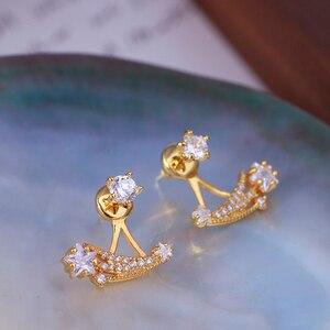 Gold Color Cubic Zircon Stud Earrings for Girls New Trendy Prong Setting Bling Bling Star Women Earrings Bridal Earrings