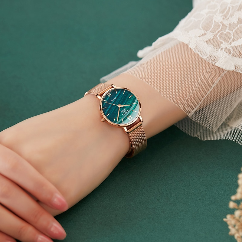 OUPAI 2021 New Arrival Turquoise Dial Fashion and Elegant Stainless Steel Watch Women Waterproof Leather Strap Ultra Thin enlarge