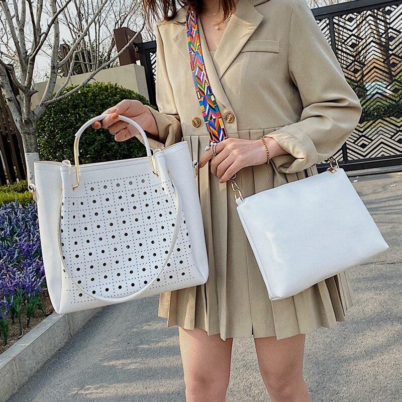 Big Hollow Out Shoulder Composite Bags for Women Large Capacity Casual Totes Handbag Set Female Wide Strap Crossbody Shopper Bag