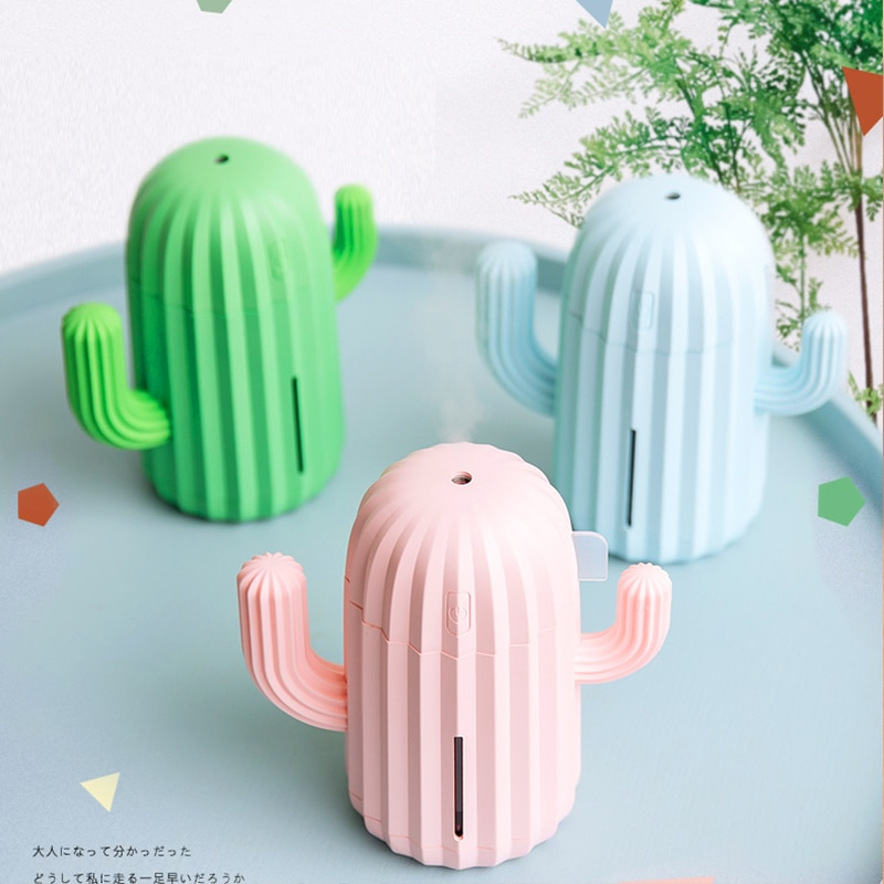 340MLAir Humidifier Romantic LED Cactus Soft Silicone USB Aroma Diffuser For Home Office Car Aromatherapy Humidificador