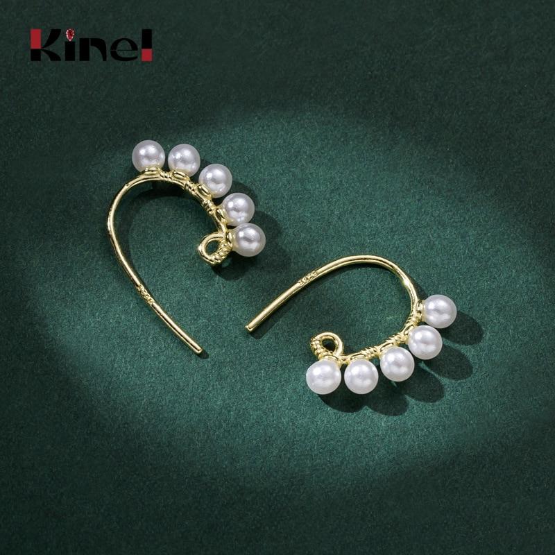 Kinel 2020 coréia novo vintage 925 prata esterlina 14k chapeamento real ouro pérola brincos para a moda feminina temperamento jóias