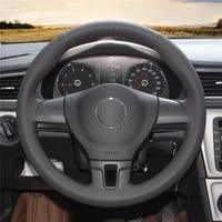 diy anti slip wear resistant steering wheel cover for volkswagen sharan passat variant eos amarok car interior decoration
