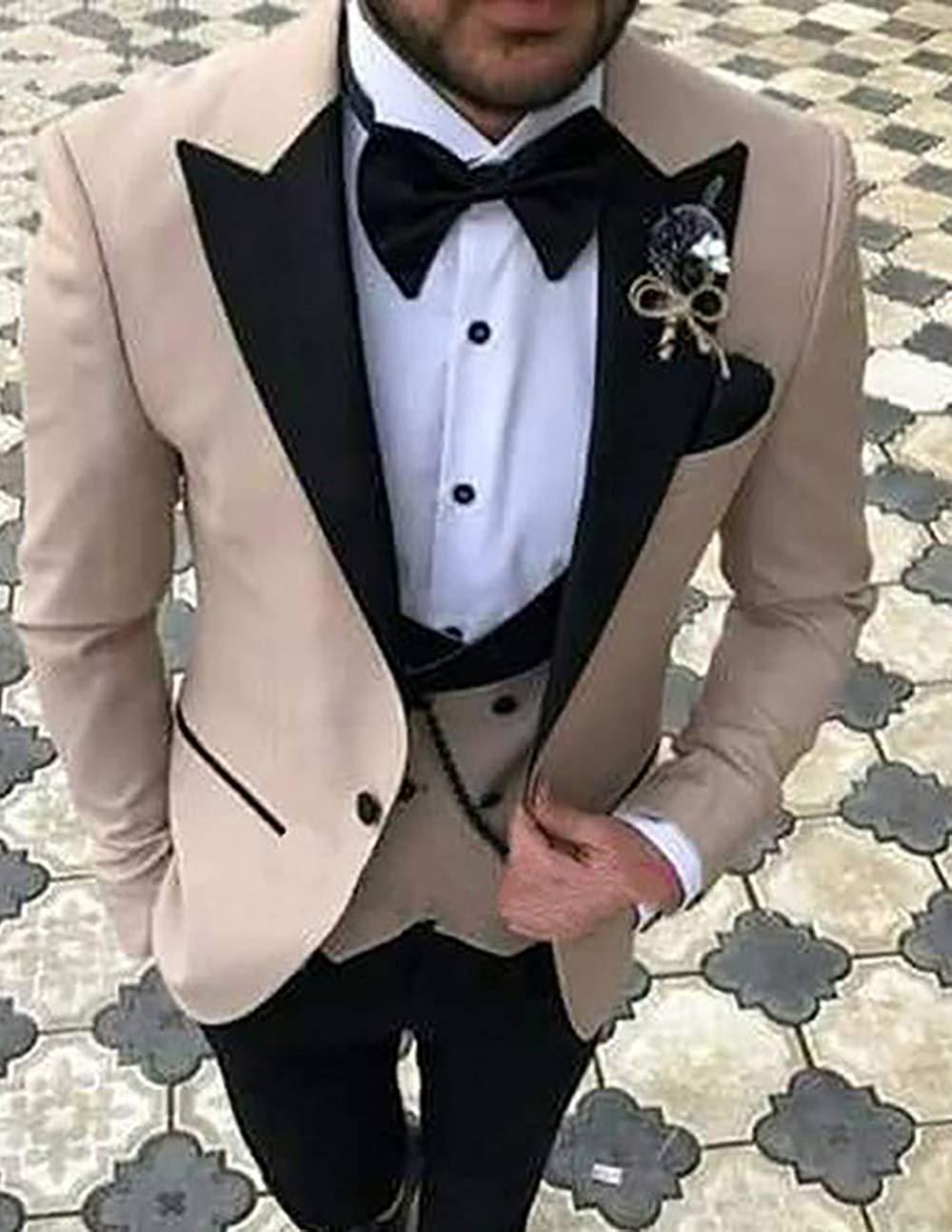 Solovedress-بدلة رسمية رجالية من 3 قطع ، ملابس رسمية رسمية للعمل ، لون عادي ، جاكيت زفاف (بليزر + صدرية + بنطلون)