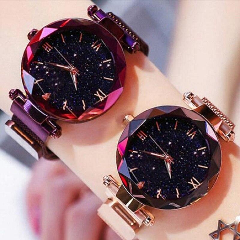 De moda imán de reloj de cielo estrellado cielo reloj mujer relojes de señoras reloj de pulsera para las mujeres romano regalo reloj, reloj de mujer montre femme 2019