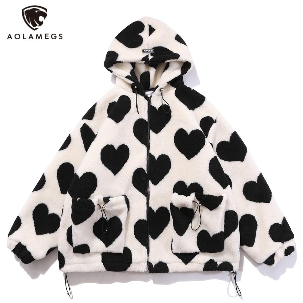 Aolamegs Cute Heart-shaped Print Lambswool Winter Jacket Men Drawstring Pockets Zipper Hooded High Street Warm Couple Streetwear