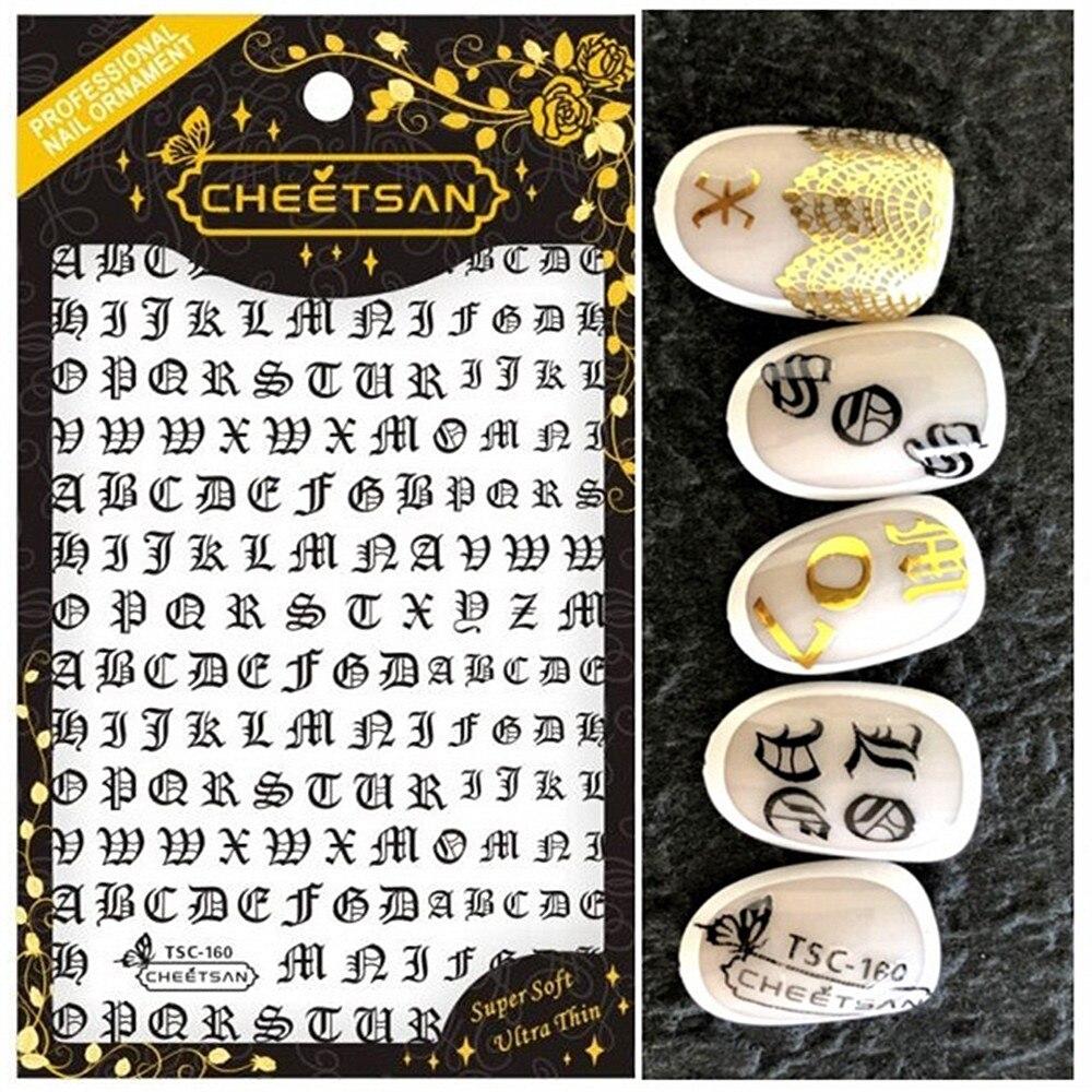 Novedosa serie TSC 159, diseño de letras, adhesivo para uñas 3d, exportación de diamantes de imitación japoneses, decoraciones DIY para arte de uñas