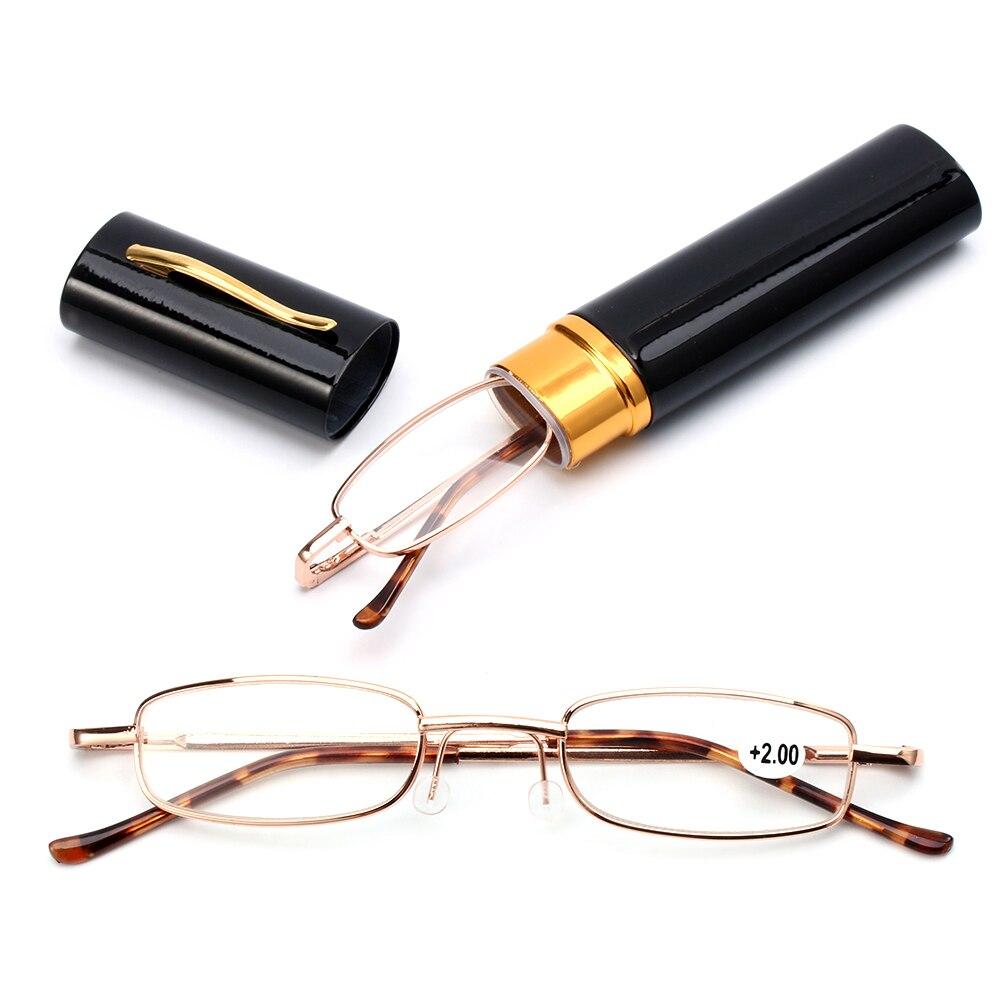 Unisex gafas de lectura pluma carcasa de tubo portátil presbicia gafas estuche de Metal clásico bisagra anteojos visión cuidado + 1,00 ~ + 4,00