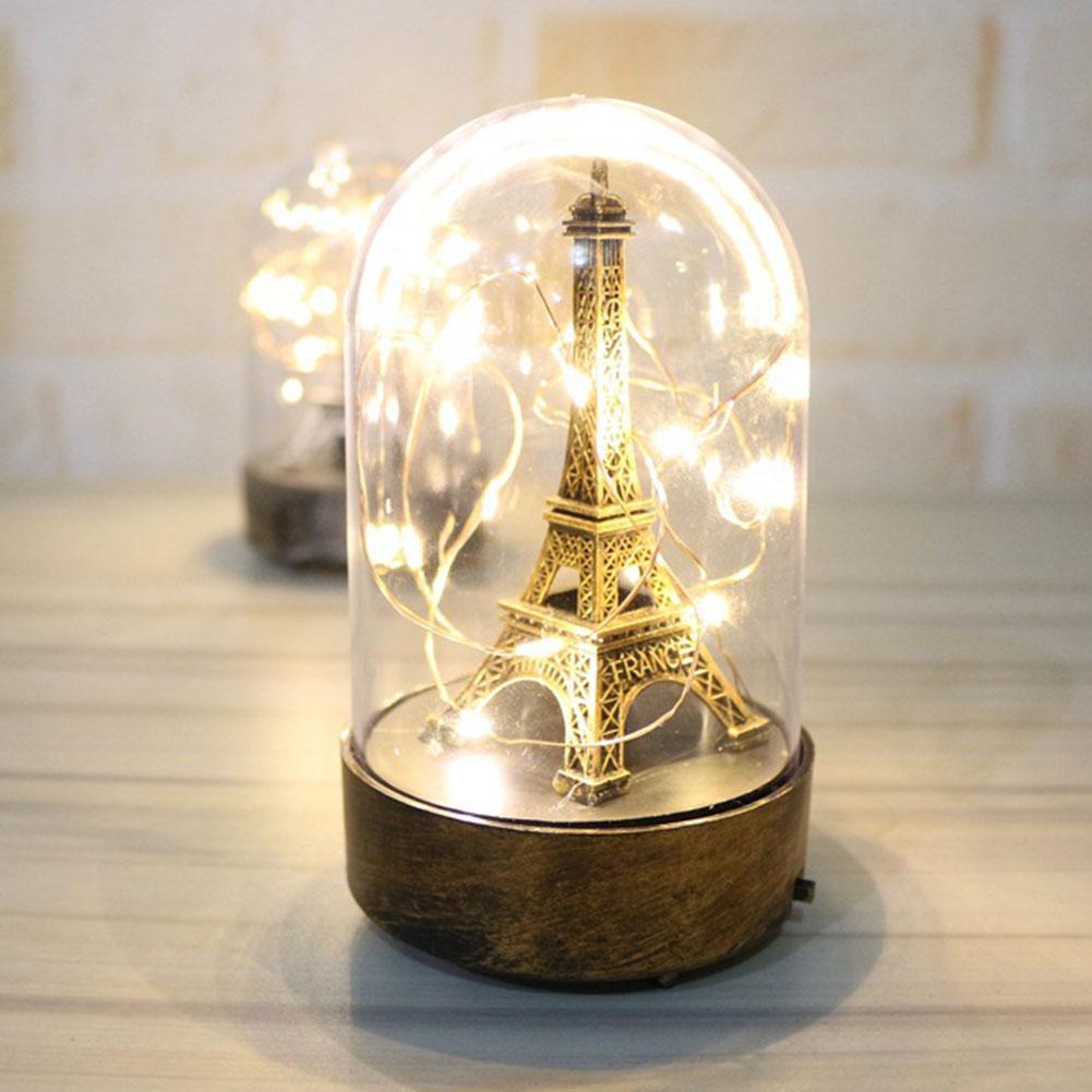 Lámpara De mesa LED romántica para el dormitorio luces De noche torre De París regalos De San Valentín para la luz decorativa del hogar Lampe De Chevet