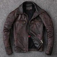 new men cowhide coat mens genuine leather jacket vintage style man leather clothes motorcycle biker jackets