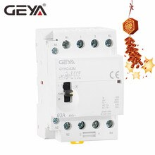 Free Shipping GEYA Manual Contactor 4P 40A 63A 2NO2NC  or 4NO 220V Din rail Household AC Modular Contactor