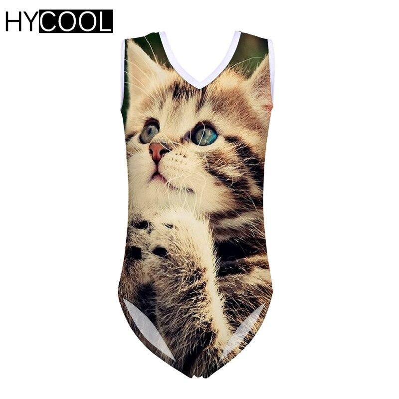 Traje de baño HYCOOL de una pieza para niños, niñas, lindo traje de baño estampado de gato para niños 2020 trajes de una sola pieza traje de baño de 3-14 años