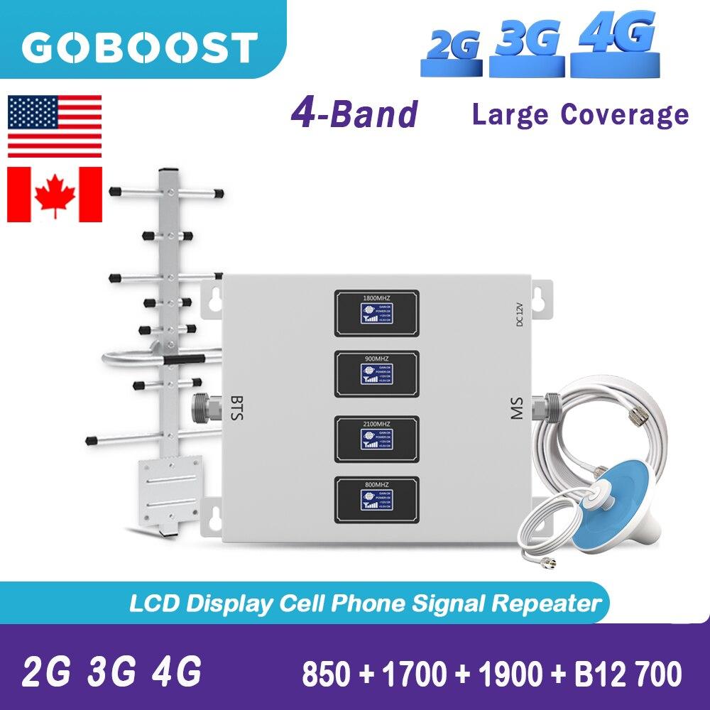 GOBOOST 2G 3G Cellular Repeater 4G LTE 850 B12 700 Mobile Signal Booster AWS1700 1900 70dB 4G Antenna Network Amplifier Full Kit