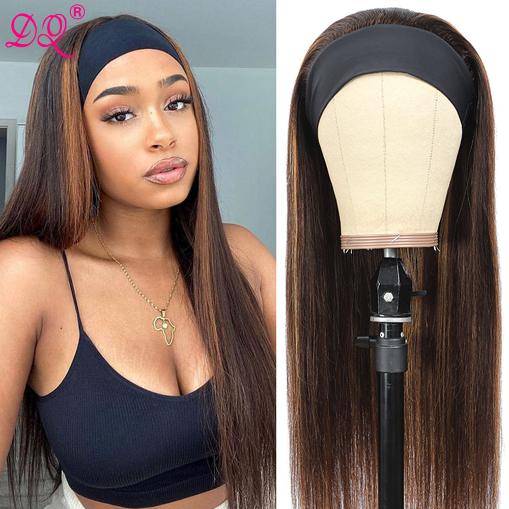 Synthetic Wig Straight Highlight Headband Wig Mix Brown Ombre Blonde Daily Party Cosplay Wig Glueless Wigs Natural Look Realisti