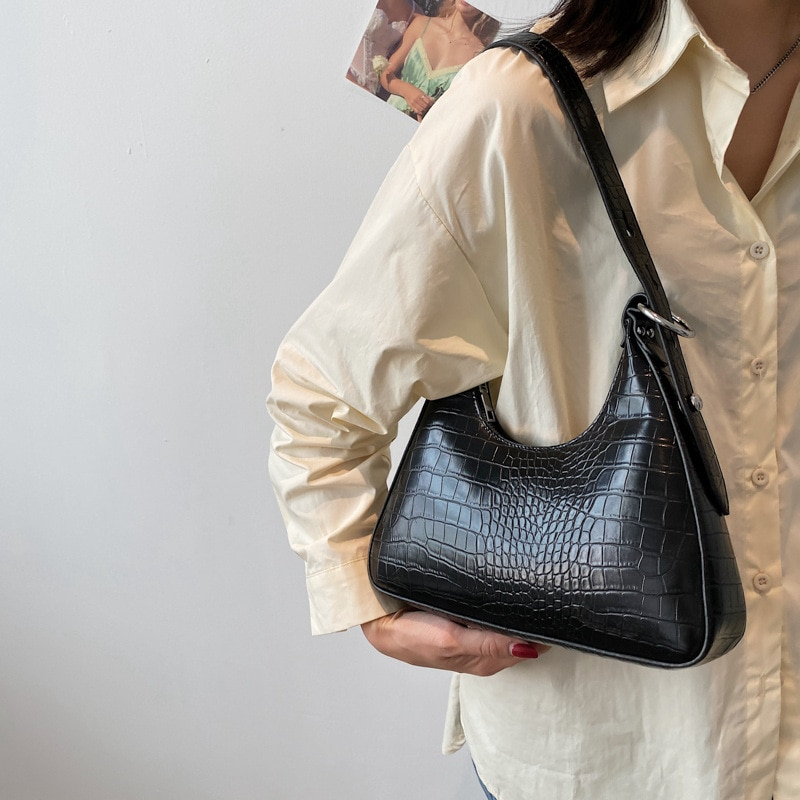 Ansloth Fashion Luxury Crocodile Pattern Shoulder Bags 2021 New Handbags Casual Simple Tote Female Bag Travel Zipper Bag HPS1161