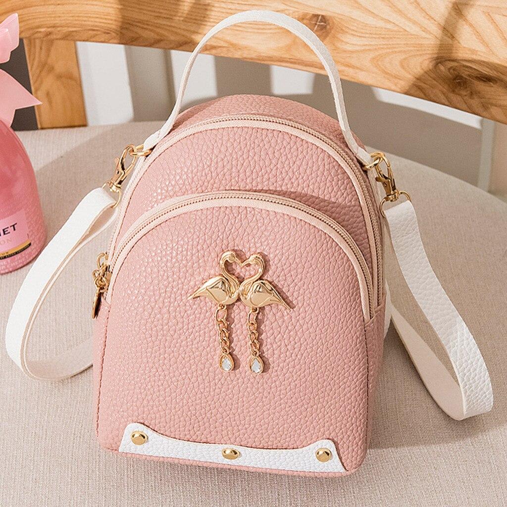 Mochila De Pequeño cisne de cuero de Color liso para mujer, Mochila pequeña para niñas, mochila para mujer, sac a dos # T1P
