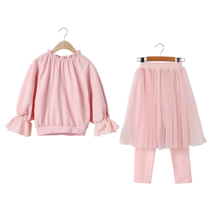 Kids Girls Sets Fashion Cotton Solid Teenage Girls Flare Sleeve Coat + Dress Pants 2 Pcs Spring Autumn Pullover Bow Girl Suits