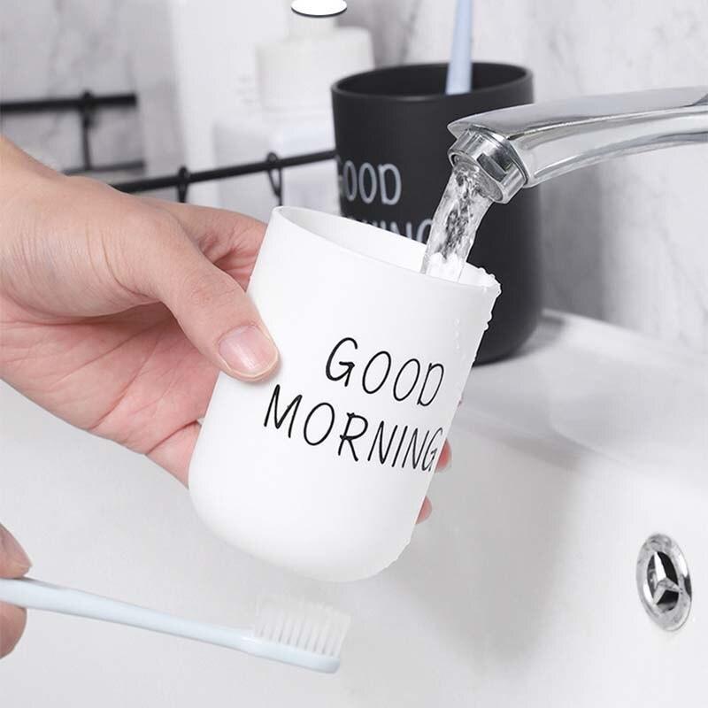 Juegos de baño Portable Simple de plástico nórdico soporte de cepillo de dientes copa de lavado de viaje buenos días Almacenamiento de cepillos de dientes taza organizadora
