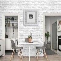 Papier peint auto-adhesif 3D PVC blanc brique  revetement mural auto-adhesif meubles salle de bains salon cuisine