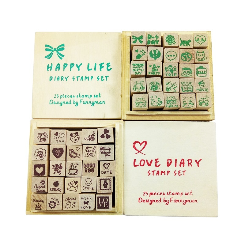 25 Pcs/set Lovely HAPPY LIFE Diary Pattern Wooden Box Seal Stamps For Scrapbooking Stationery