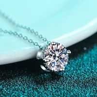 boeycjr 925 silver 1ct d color moissanite round vvs elegant wedding simple design pendant necklace for women anniversary gift