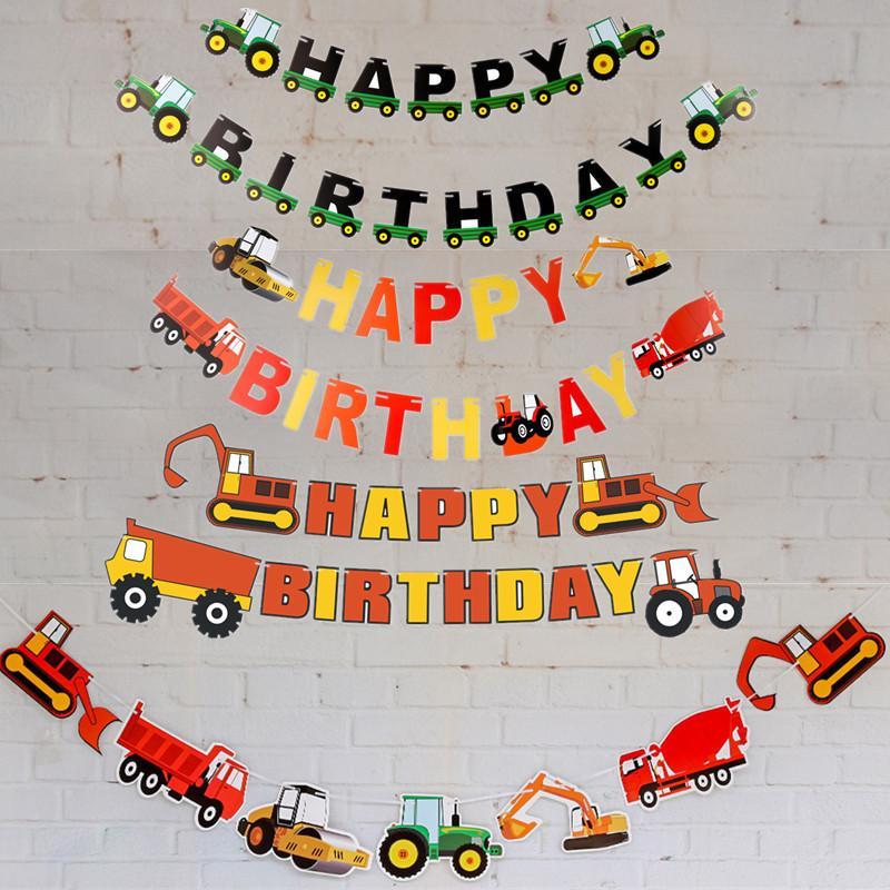 2019 nuevo primer cumpleaños niño construcción camión registro bosque bebé cumpleaños fiesta tirar bandera con decoraciones creativas