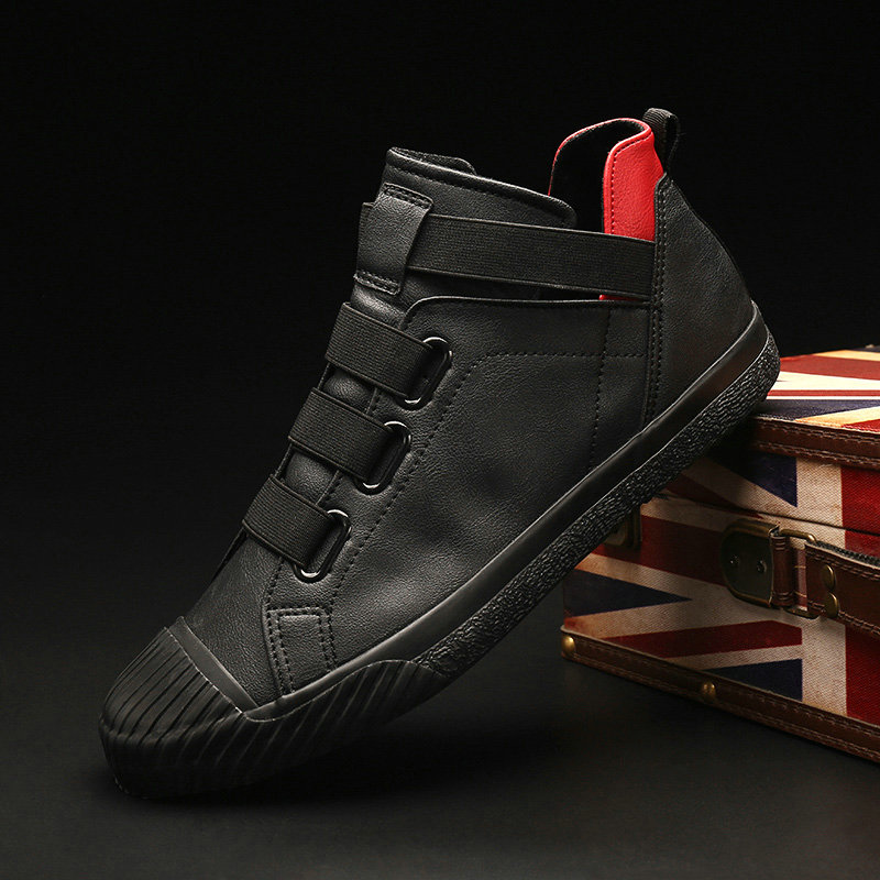 Leather Men Casual Shoes Autumn Fashion Sneakers Footwear Soft Rubber Male Flats Shoe Mens High Top All Black Shoes clax men shoes genuine leather spring autumn casual shoe male leather shoe walking footwear soft black fashion