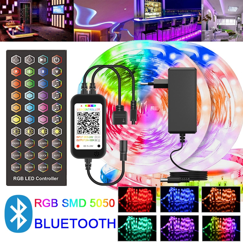 New Bluetooth LED Strips Lights RGB SMD 5050 30M DC 12V Flexible Ribbon Diode Tape IP20 Living Room