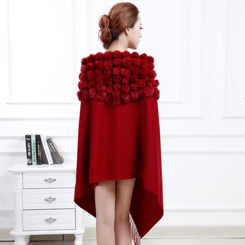 Winter 100% Wool scarf women real fur shawls Black New  Cashmere Pashmina Rabbit Fur Pompom Shawl Scarf Autumn Warm Cape Muffler