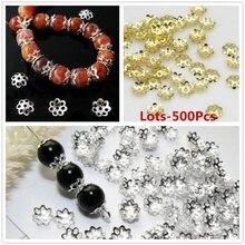 En gros 500 pcs/Lots argent plaqué or 6mm métal filigrane fleur bricolage perle embouts résultats pour la fabrication de bijoux