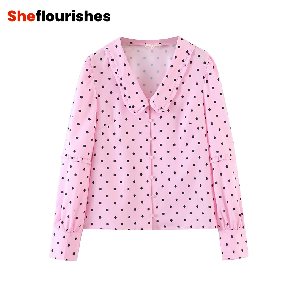 Vintage Pink Long Sleeve Women's Polka Dot Peter Pan Collar Blouses 2020 kawaii Elegant Single-breasted Pleated Shirts for Lady
