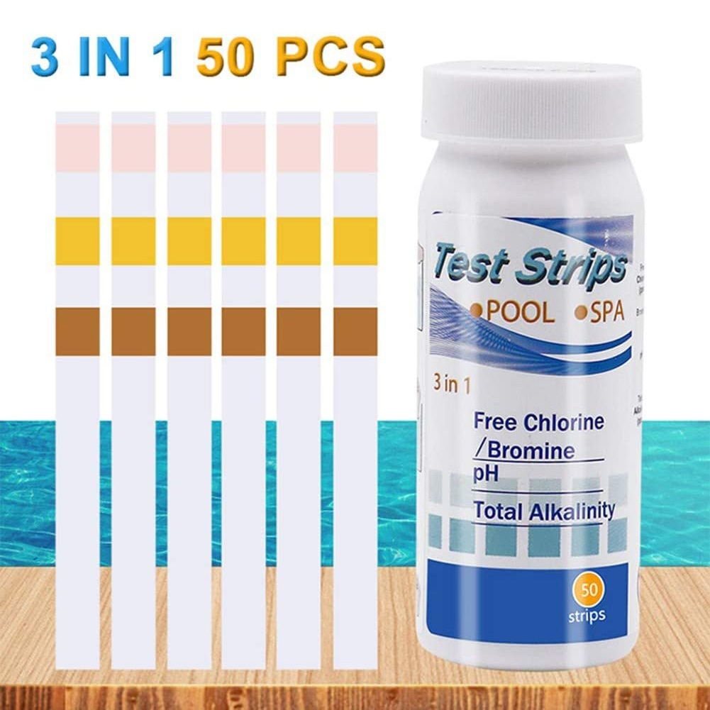 50 Uds 3-en-1 piscina de Prueba de papel de cloro Residual PH VPH tiras de prueba agua cloro acidez alcalinidad Litmus Tester papel