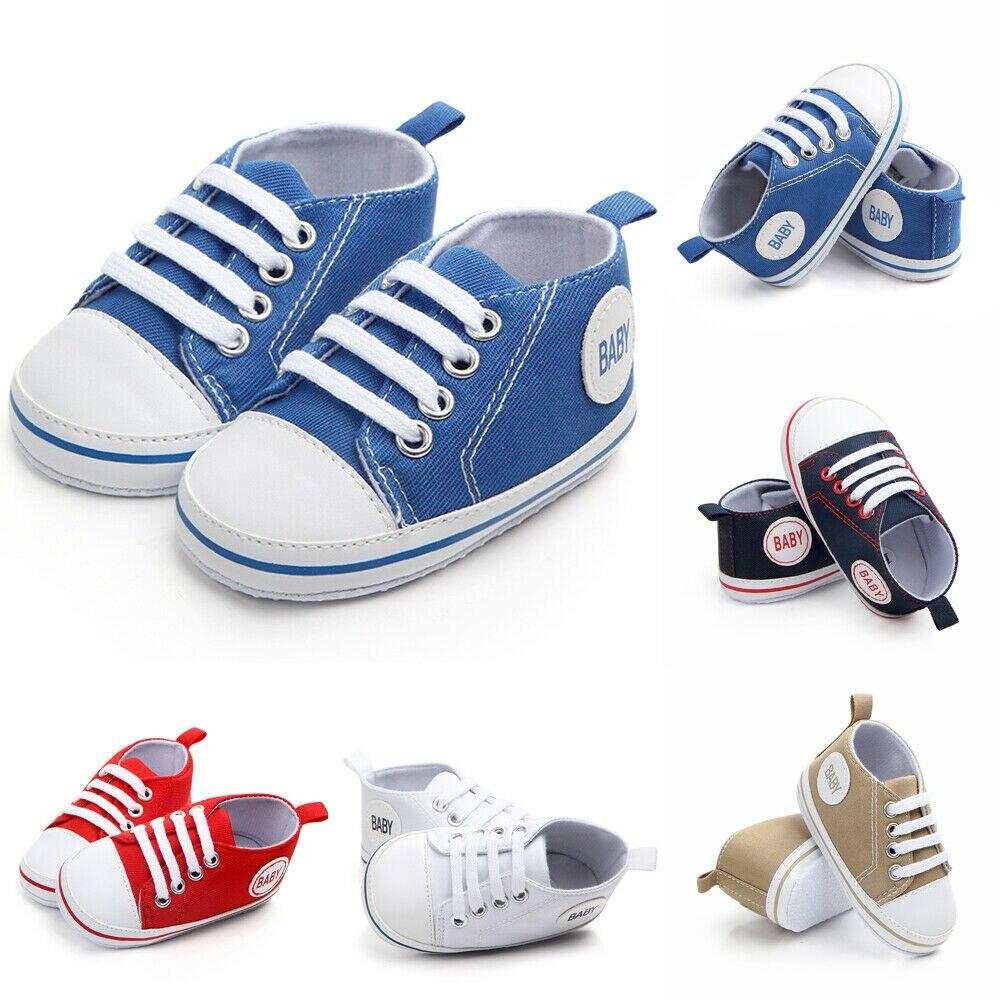Bebê recém-nascido menino menina pram sapatos infantis sapatos casuais criança pré walker formadores