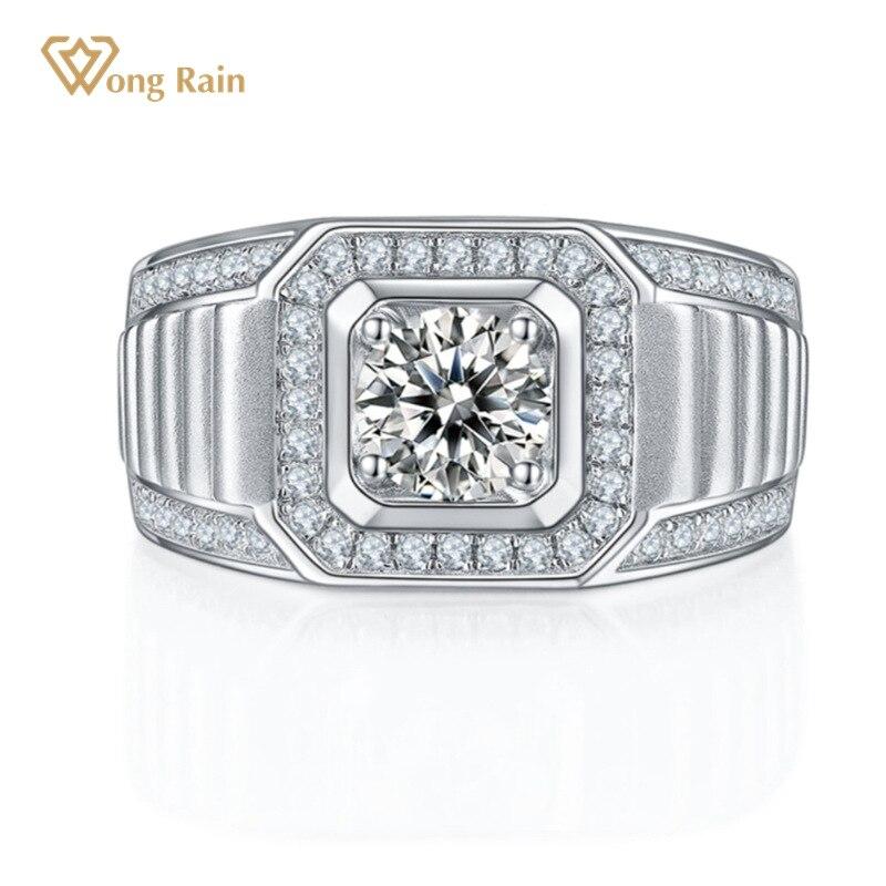 وونغ المطر 100% 925 فضة مكون مويسانيتي الماس الأحجار الكريمة الزفاف الخطبة الذهب الأبيض الرجال خاتم غرامة مجوهرات