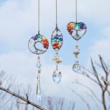 H & D Chakra piedras curativas Árbol de la vida Suncatcher máquina de arcoíris colgante de ventana ornamento de inauguración de la casa regalo colección encantos de coche