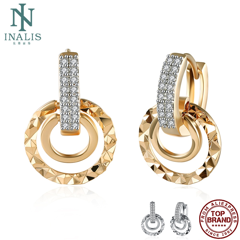 INALIS Luxurious Round Drop Earrings For Women Full White Clean Cubic Zirconia Earring Wedding Female On Sale Fashion Jewelry