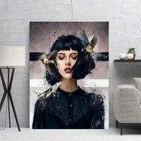 Peinture sur toile abstraite femme Style nordique  impression HD  image modulaire  Art mural  mode  decor de maison  affiche de salon