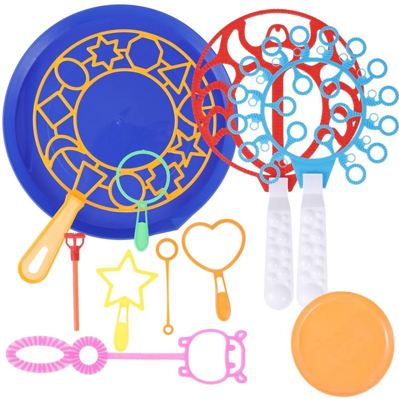 10 pçs bolha máquina soprando bolha ferramenta sabão bolha fabricante ventilador conjunto grande bolha prato ao ar livre engraçado presente brinquedos para crianças brinquedos
