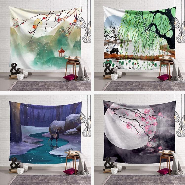 Гобелен в китайском стиле, тканевый Декор, гобелен, Настенное подвесное одеяло, пляжное полотенце, большой коврик для йоги, 200x150 см, покрывало, ковер