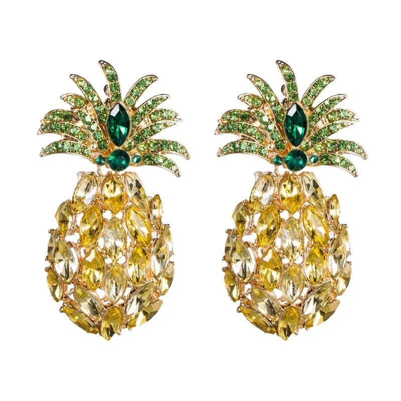 Pineapple Crystal Earrings for Women Hot Sale Boho Rhinestone Statement Drop Dangle Earring Fashion Jewelry Bijoux 2020 fashion statement gold earrings for women trendy boho rhinestone moon and star drop dangle earring female hanging jewelry