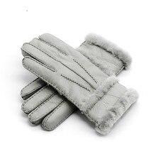 100% Sheepskin Winter Gloves for Women  Men Real  Cashmere Fur Warm Gloves Ladies Full Finger Genuin