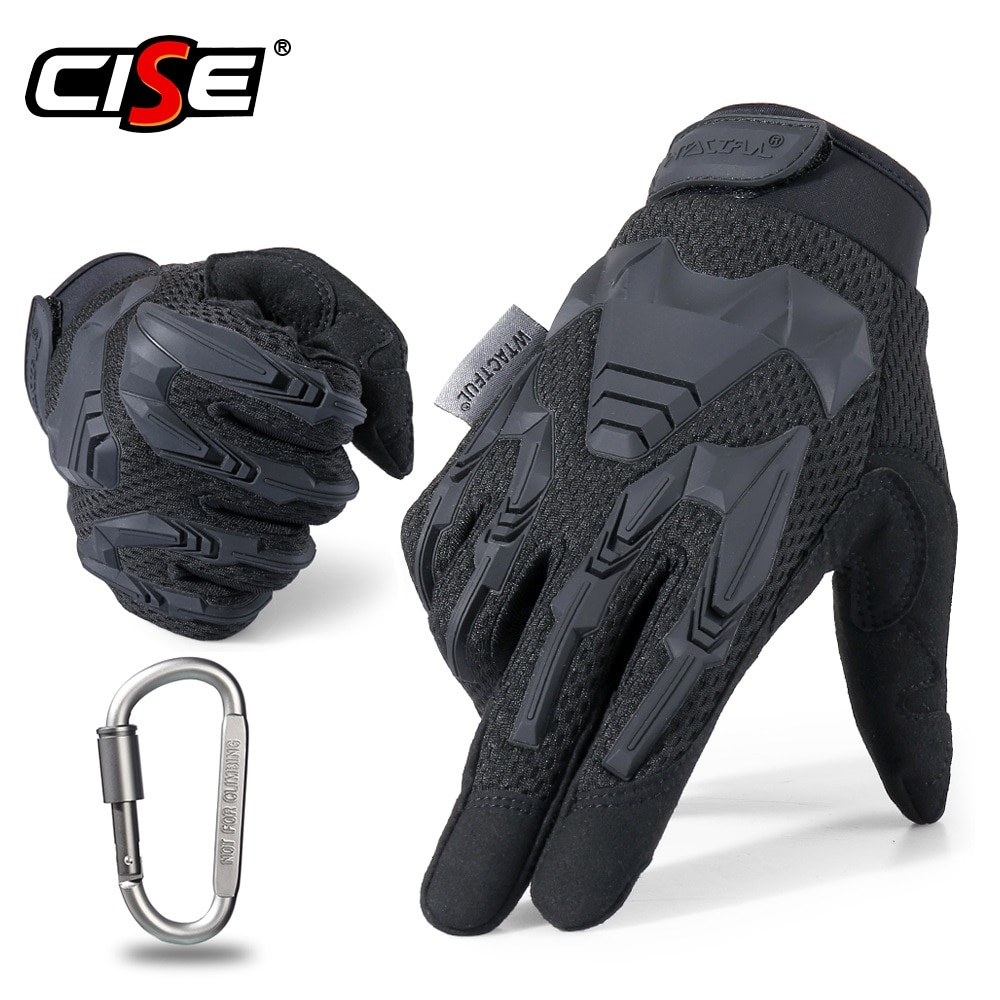 free shipping newest rs 390 full skin perforated carbon fiber glove motorcycle racing gloves full finger 3 size 3 color Motorcycle Full Finger Gloves Rubber Protective Gear Enduro Sport Racing Biker Riding Motocross Moto Motorbike Mittens Men Glove