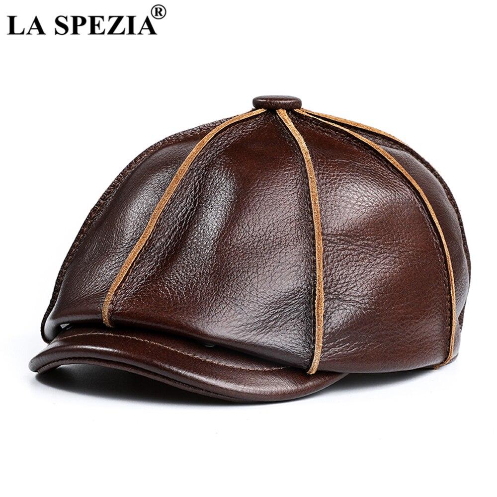 جلد طبيعي قبعة موزع الصحف الرجال الحقيقي جلد البقر قبعة مثمنة الخريف الشتاء قبعات عالية الجودة للرجال اكسسوارات